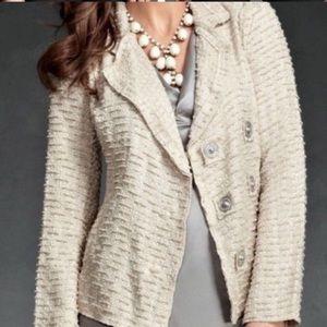 CAbi Womens Blazer S Beige Cream Button Front 985